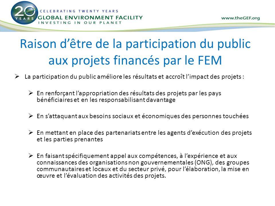 Raison dêtre de la participation du public aux projets financés par le FEM La participation du public améliore les résultats et accroît limpact des pr