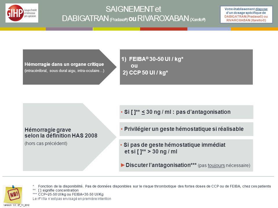 SAIGNEMENT et DABIGATRAN (Pradaxa ® ) ou RIVAROXABAN (Xarelto ® ) Votre établissement dispose dun dosage spécifique de DABIGATRAN (Pradaxa®) ou RIVARO