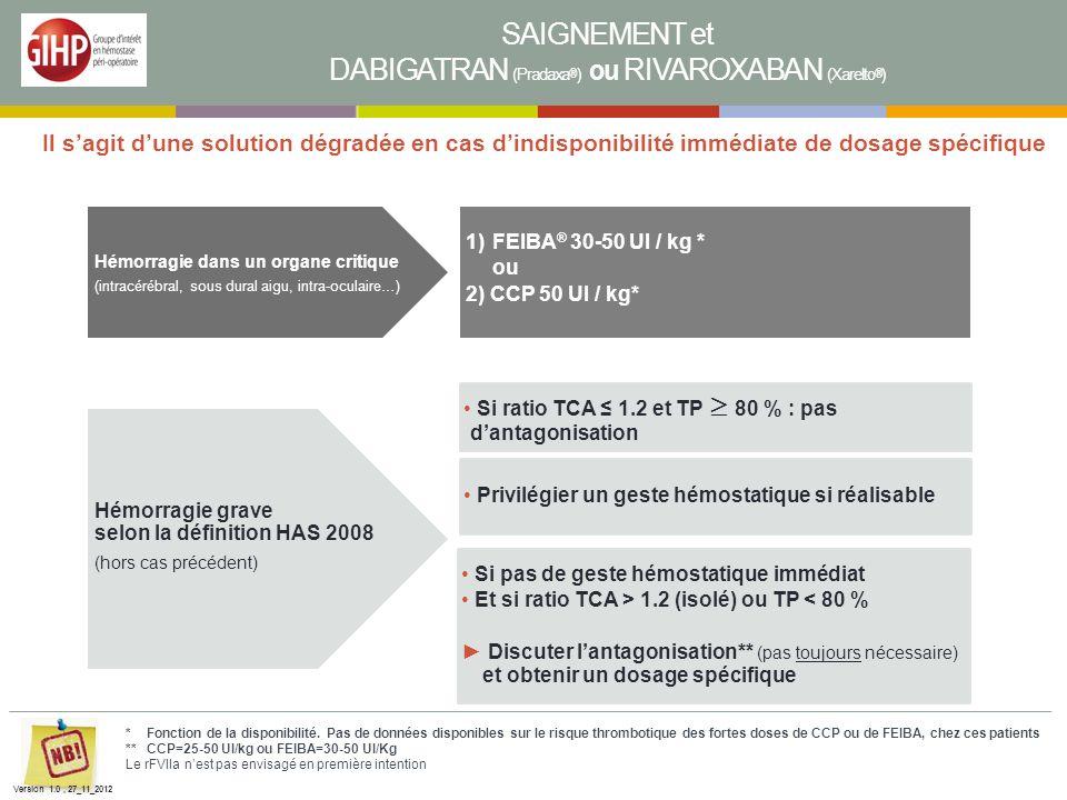 SAIGNEMENT et DABIGATRAN (Pradaxa ® ) ou RIVAROXABAN (Xarelto ® ) Il sagit dune solution dégradée en cas dindisponibilité immédiate de dosage spécifiq