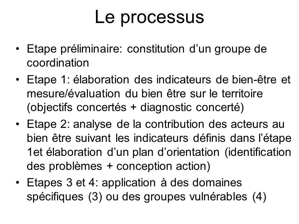 Le processus Etape préliminaire: constitution dun groupe de coordination Etape 1: élaboration des indicateurs de bien-être et mesure/évaluation du bie