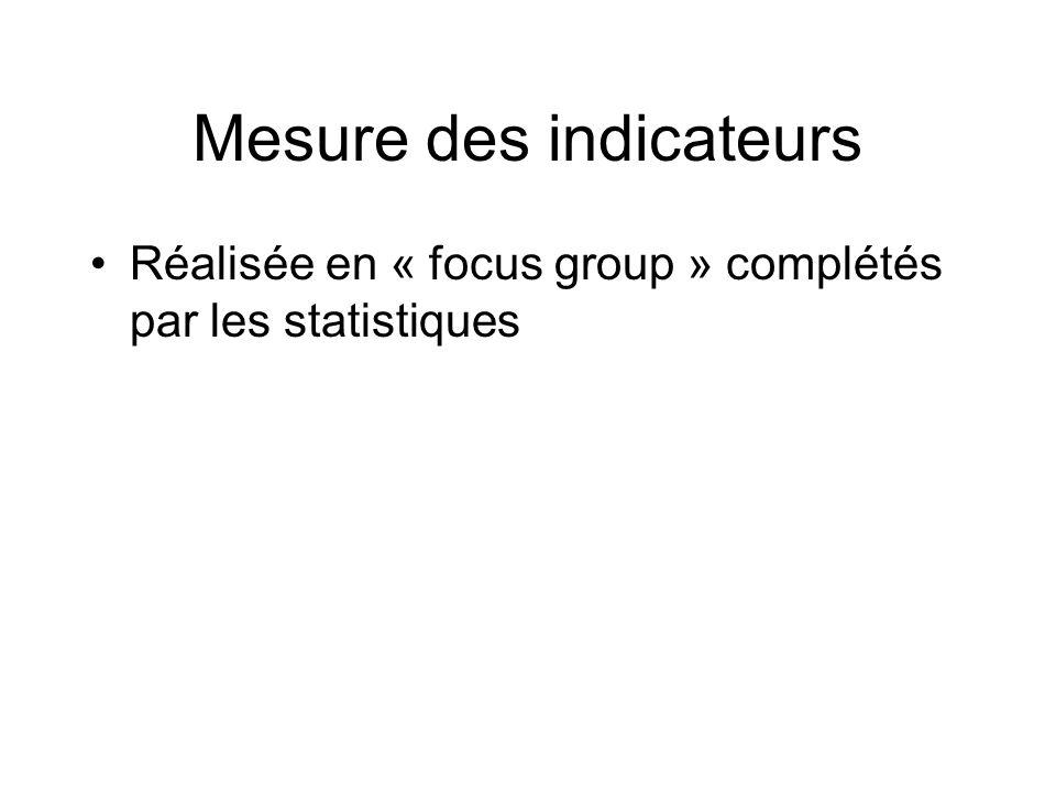 Mesure des indicateurs Réalisée en « focus group » complétés par les statistiques
