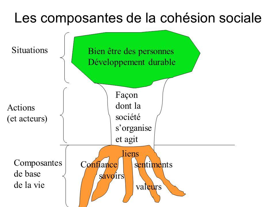 Les composantes de la cohésion sociale Bien être des personnes Développement durable Façon dont la société sorganise et agit Situations Actions (et ac