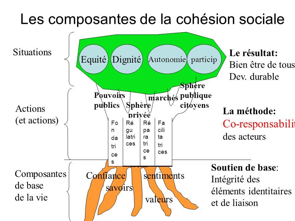 Les composantes de la cohésion sociale Actions (et actions) Composantes de base de la vie liens Confiance sentiments savoirs valeurs Pouvoirs publics