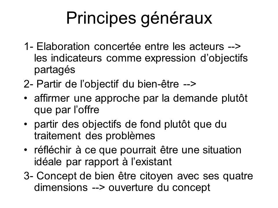 Principes généraux 1- Elaboration concertée entre les acteurs --> les indicateurs comme expression dobjectifs partagés 2- Partir de lobjectif du bien-