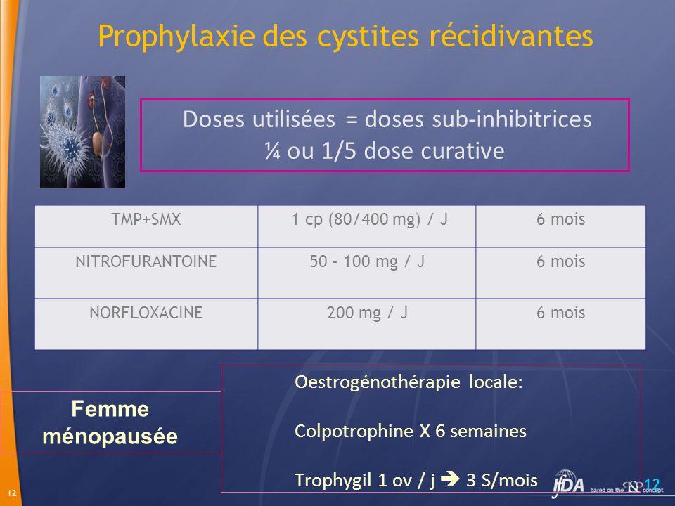 12 TMP+SMX 1 cp (80/400 mg) / J6 mois NITROFURANTOINE50 – 100 mg / J6 mois NORFLOXACINE200 mg / J6 mois Doses utilisées = doses sub-inhibitrices ¼ ou 1/5 dose curative Prophylaxie des cystites récidivantes Oestrogénothérapie locale: Colpotrophine X 6 semaines Trophygil 1 ov / j 3 S/mois Femme ménopausée