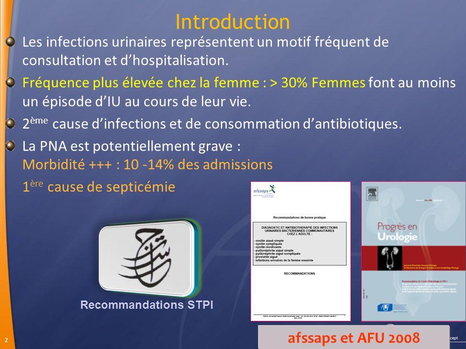 2 Introduction Les infections urinaires représentent un motif fréquent de consultation et dhospitalisation.