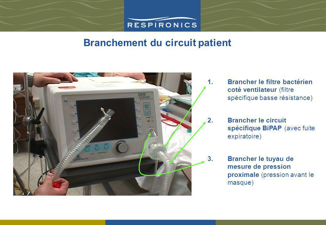 Branchement du circuit patient 1.Brancher le filtre bactérien coté ventilateur (filtre spécifique basse résistance) 2.Brancher le circuit spécifique B