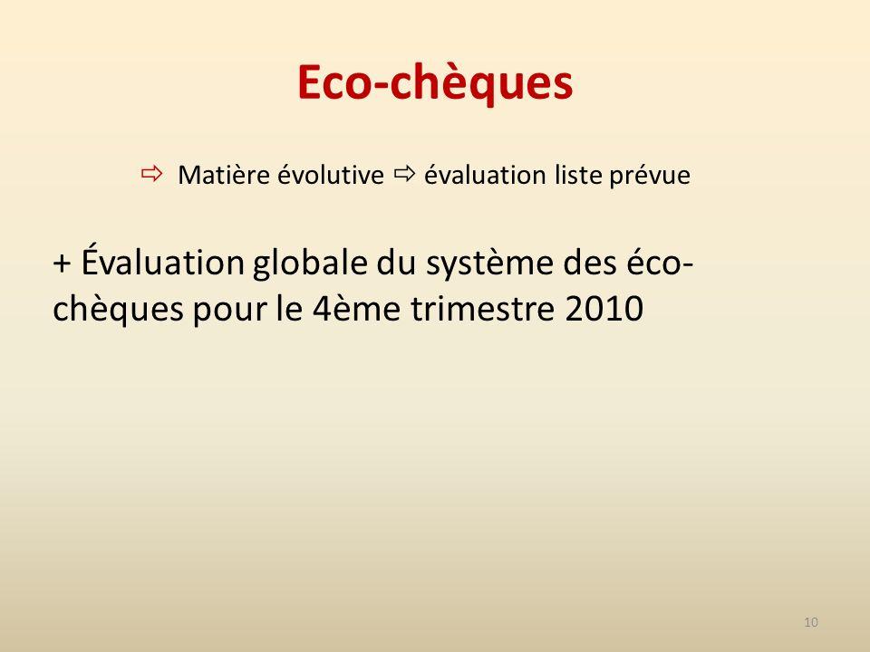 10 Eco-chèques Matière évolutive évaluation liste prévue + Évaluation globale du système des éco- chèques pour le 4ème trimestre 2010