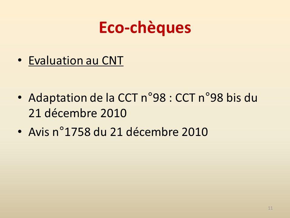 11 Eco-chèques Evaluation au CNT Adaptation de la CCT n°98 : CCT n°98 bis du 21 décembre 2010 Avis n°1758 du 21 décembre 2010