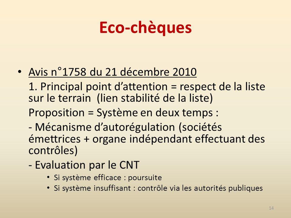 14 Eco-chèques Avis n°1758 du 21 décembre 2010 1.