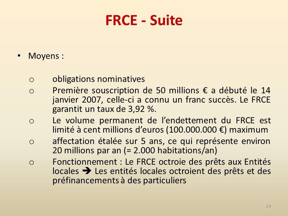 24 FRCE - Suite Moyens : o obligations nominatives o Première souscription de 50 millions a débuté le 14 janvier 2007, celle-ci a connu un franc succès.