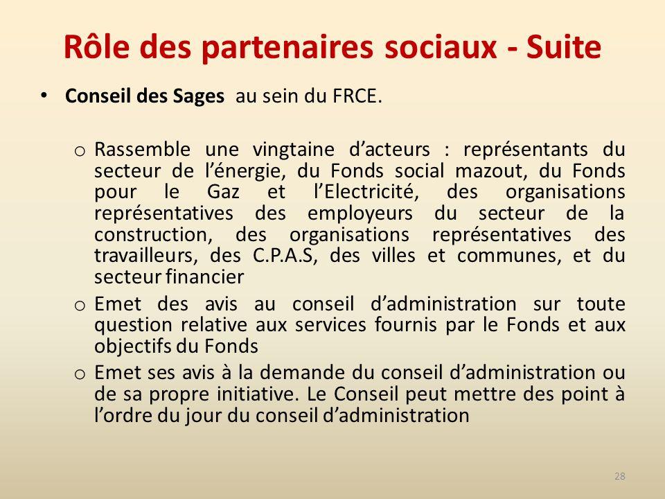 28 Rôle des partenaires sociaux - Suite Conseil des Sages au sein du FRCE.