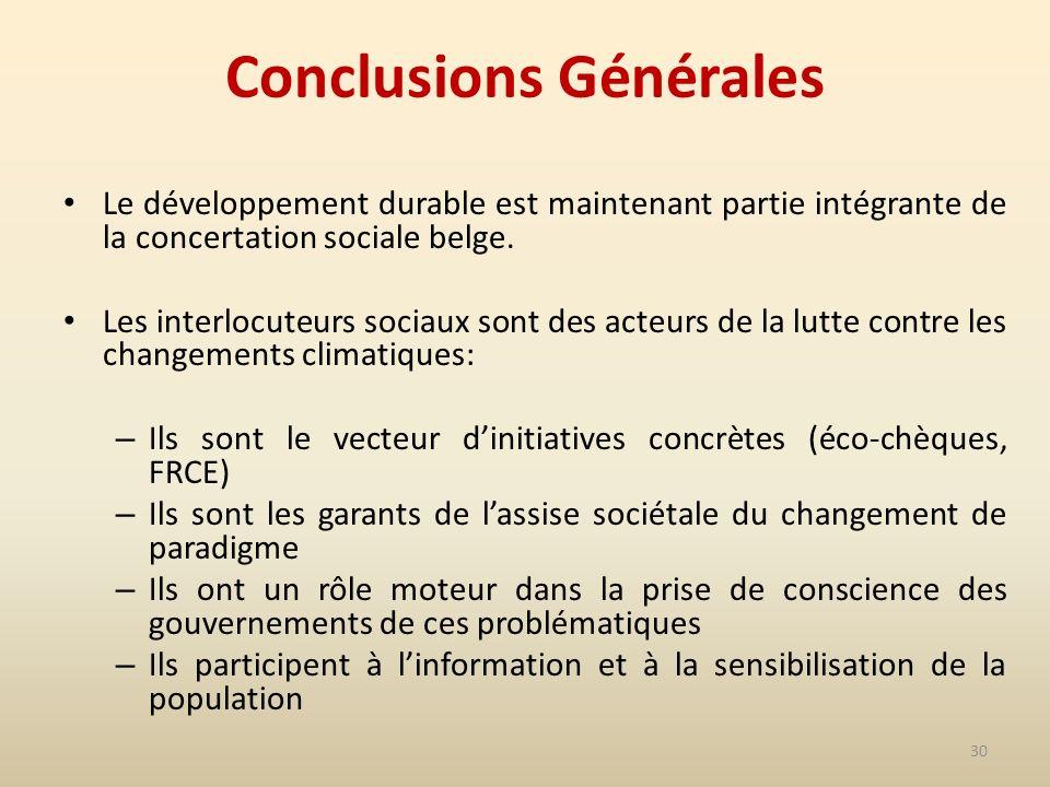 30 Conclusions Générales Le développement durable est maintenant partie intégrante de la concertation sociale belge.