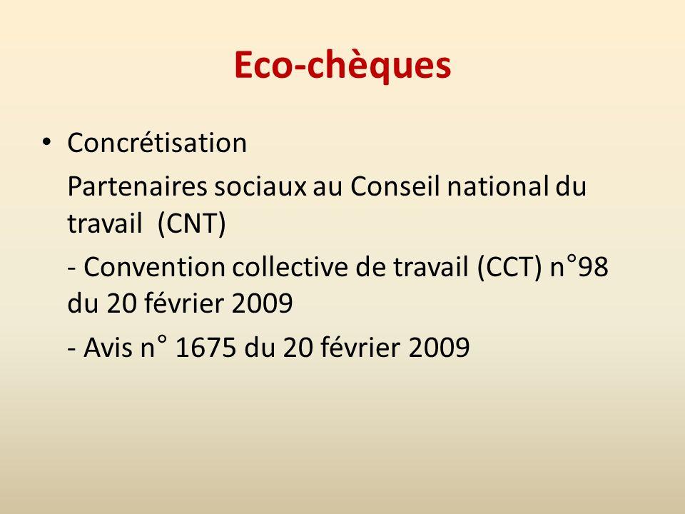 Eco-chèques Concrétisation Partenaires sociaux au Conseil national du travail (CNT) - Convention collective de travail (CCT) n°98 du 20 février 2009 - Avis n° 1675 du 20 février 2009
