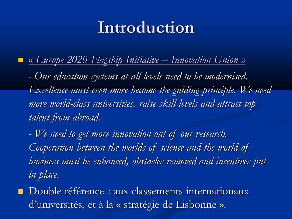 Introduction « Stratégie de Lisbonne » : faire de lUnion Européenne « léconomie de la connaissance la plus compétitive et la plus dynamique du monde dici 2010, capable dune croissance économique durable, accompagnée dune amélioration quantitative et qualitative de lemploi et dune plus grande cohésion sociale ».
