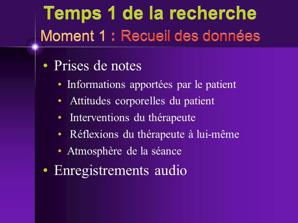 Temps 1 de la recherche Moment 1 : Recueil des données Prises de notes Informations apportées par le patient Attitudes corporelles du patient Interven