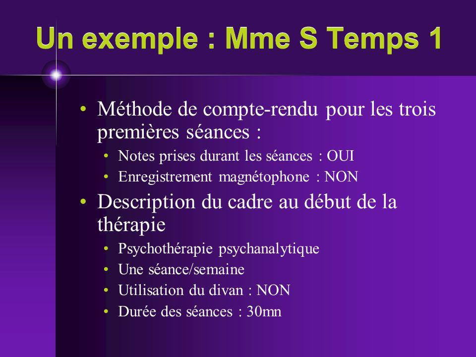 Un exemple : Mme S Temps 1 Méthode de compte-rendu pour les trois premières séances : Notes prises durant les séances : OUI Enregistrement magnétophon