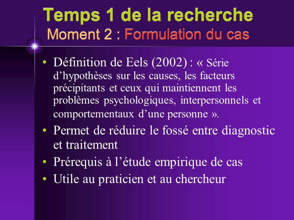 Temps 1 de la recherche Moment 2 : Formulation du cas Définition de Eels (2002) : « Série dhypothèses sur les causes, les facteurs précipitants et ceu
