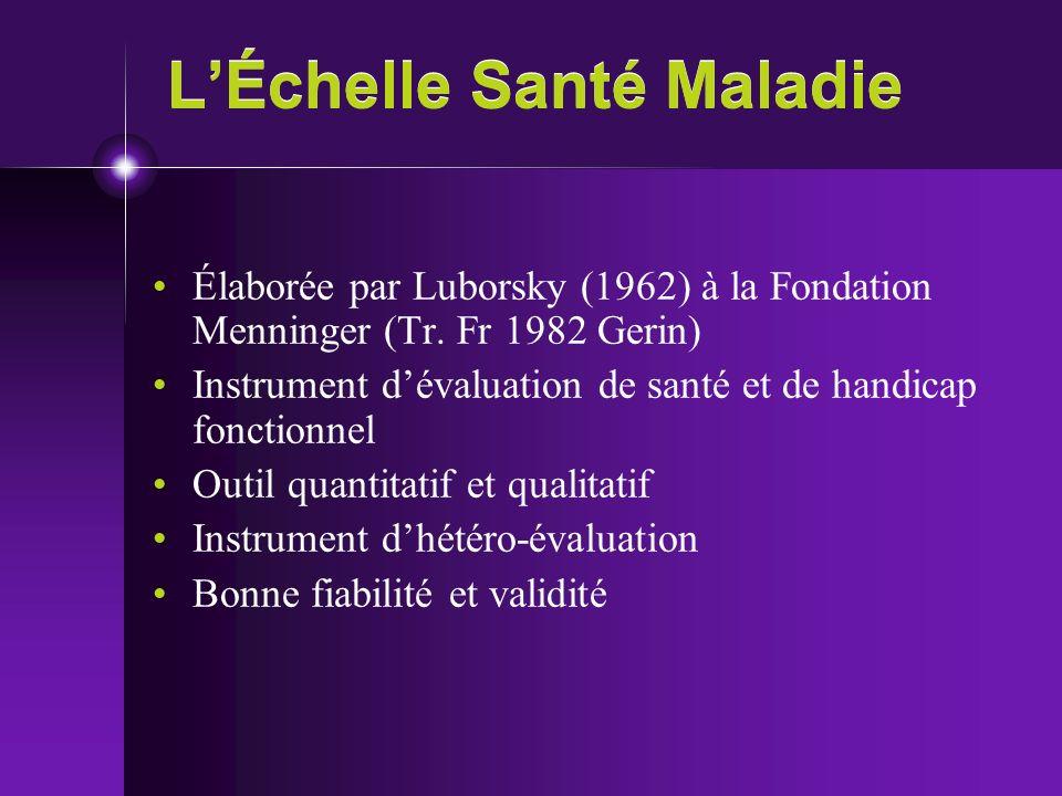 LÉchelle Santé Maladie Élaborée par Luborsky (1962) à la Fondation Menninger (Tr. Fr 1982 Gerin) Instrument dévaluation de santé et de handicap foncti