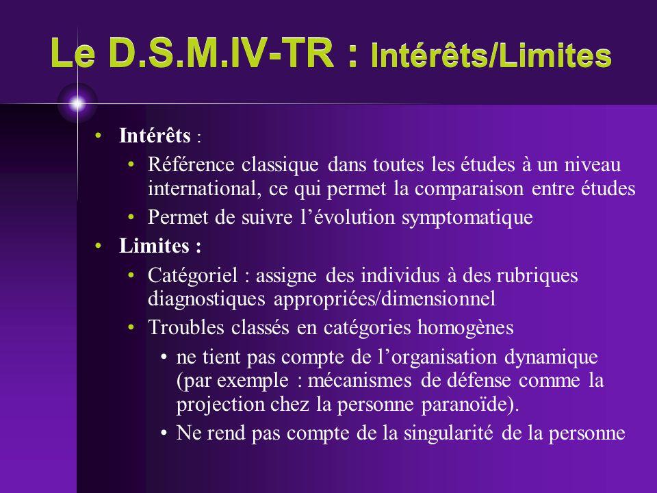 Le D.S.M.IV-TR : Intérêts/Limites Intérêts : Référence classique dans toutes les études à un niveau international, ce qui permet la comparaison entre