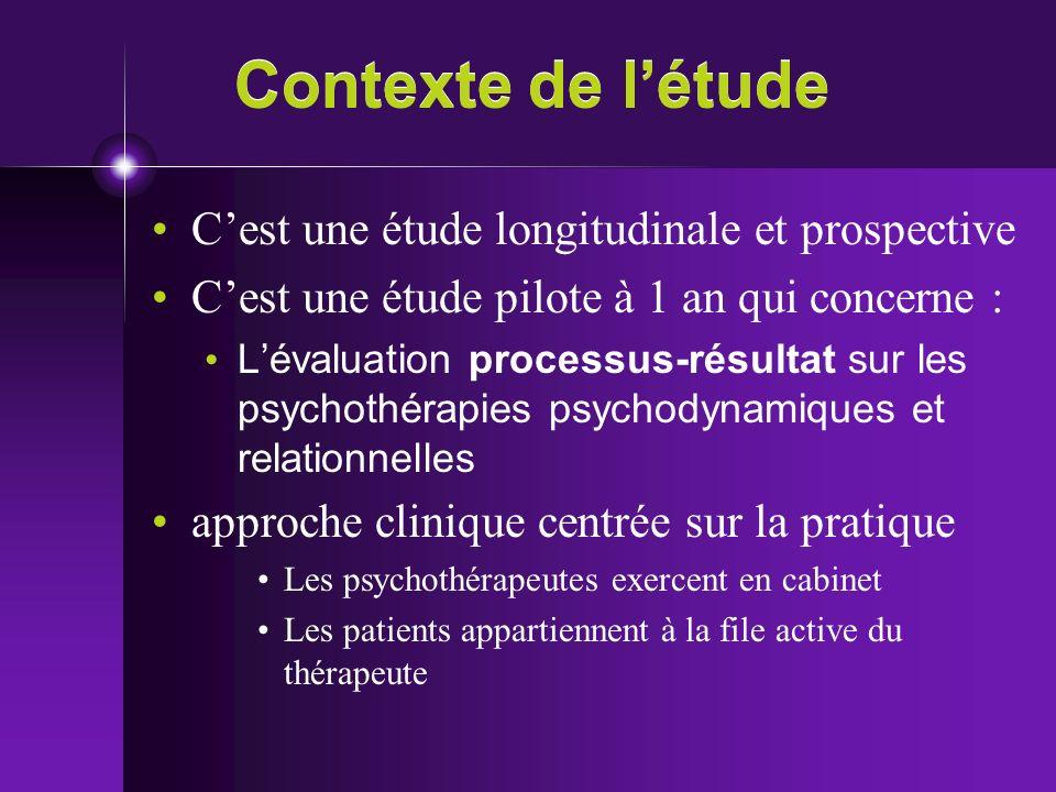 Contexte de létude Cest une étude longitudinale et prospective Cest une étude pilote à 1 an qui concerne : Lévaluation processus-résultat sur les psyc