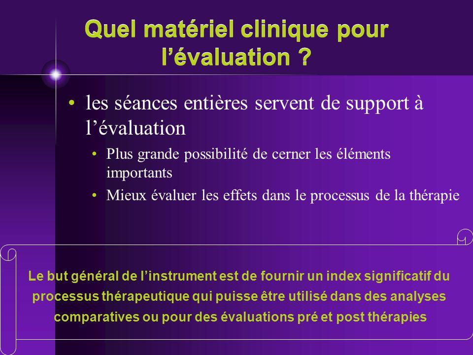 Quel matériel clinique pour lévaluation ? les séances entières servent de support à lévaluation Plus grande possibilité de cerner les éléments importa