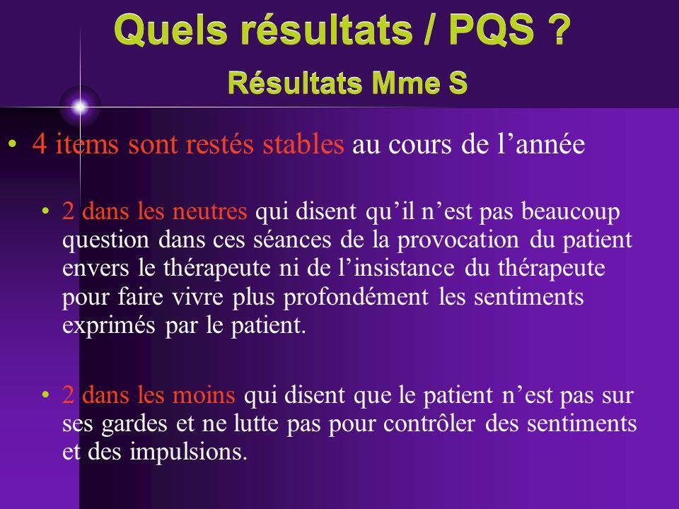 Quels résultats / PQS ? Résultats Mme S 4 items sont restés stables au cours de lannée 2 dans les neutres qui disent quil nest pas beaucoup question d