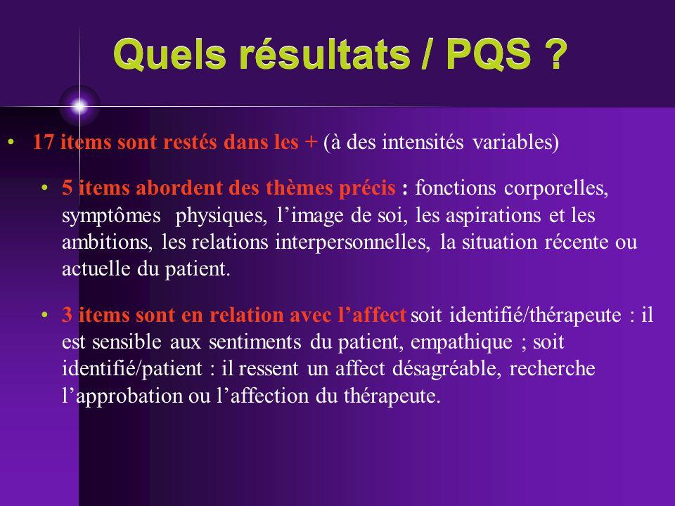 Quels résultats / PQS ? 17 items sont restés dans les + (à des intensités variables) 5 items abordent des thèmes précis : fonctions corporelles, sympt