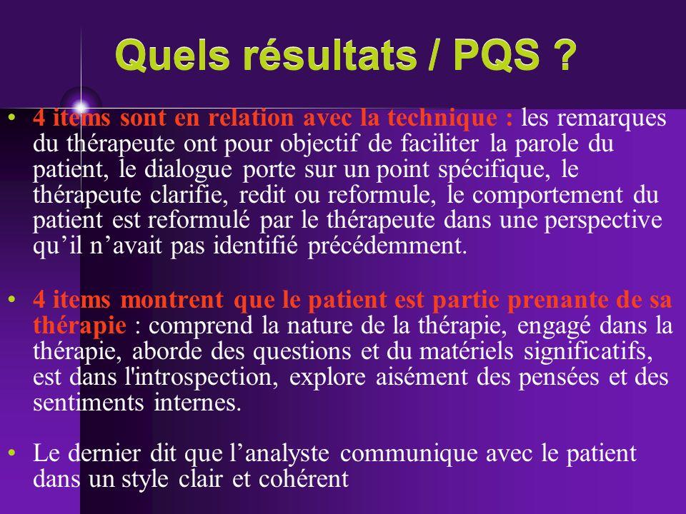 Quels résultats / PQS ? 4 items sont en relation avec la technique : les remarques du thérapeute ont pour objectif de faciliter la parole du patient,