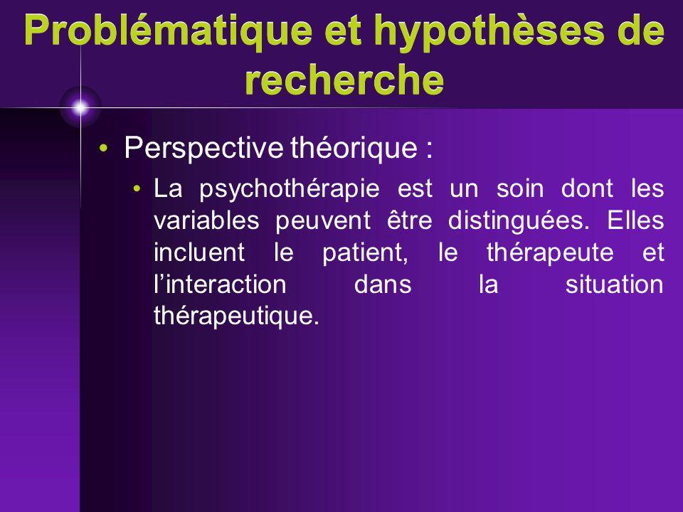 Problématique et hypothèses de recherche Perspective théorique : La psychothérapie est un soin dont les variables peuvent être distinguées. Elles incl