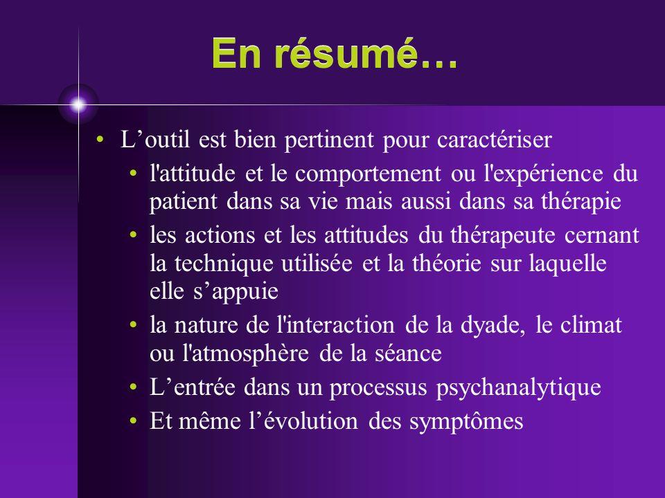 En résumé… Loutil est bien pertinent pour caractériser l'attitude et le comportement ou l'expérience du patient dans sa vie mais aussi dans sa thérapi