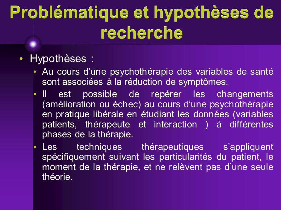 Problématique et hypothèses de recherche Hypothèses : Au cours dune psychothérapie des variables de santé sont associées à la réduction de symptômes.