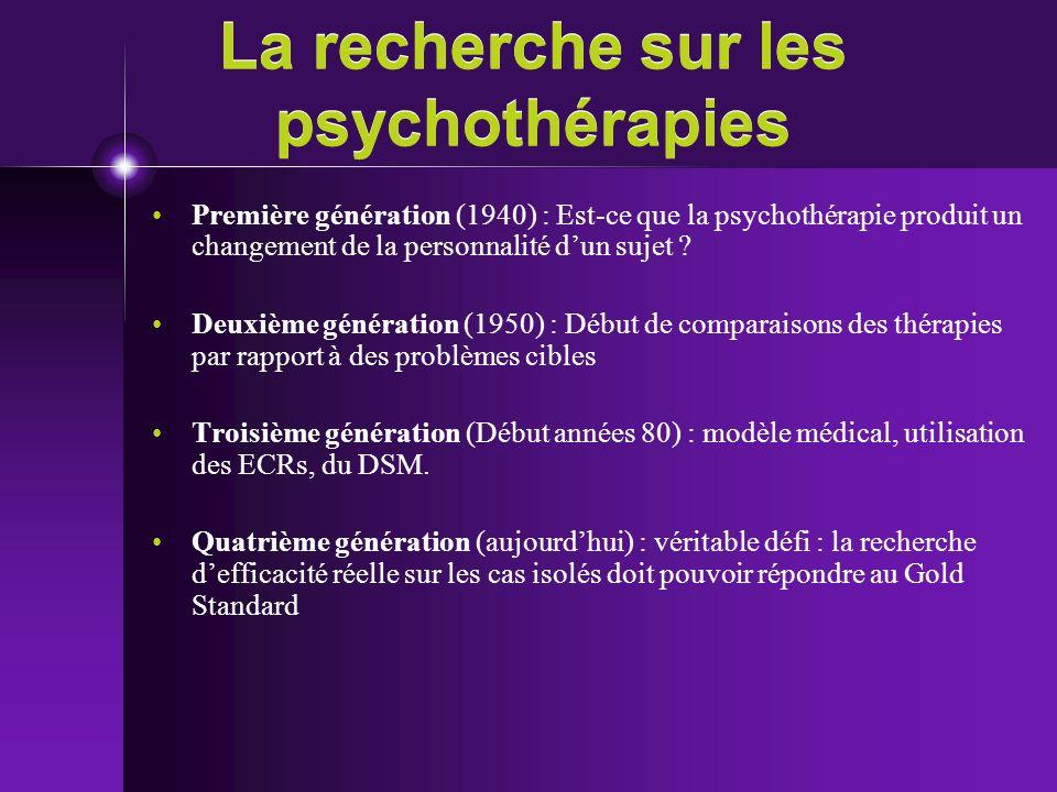La recherche sur les psychothérapies Première génération (1940) : Est-ce que la psychothérapie produit un changement de la personnalité dun sujet ? De