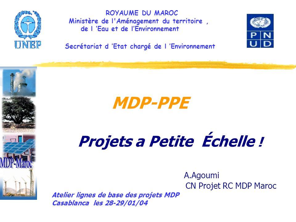 ROYAUME DU MAROC Ministère de l'Aménagement du territoire, de l Eau et de lEnvironnement Secrétariat d Etat chargé de l Environnement MDP-PPE Projets