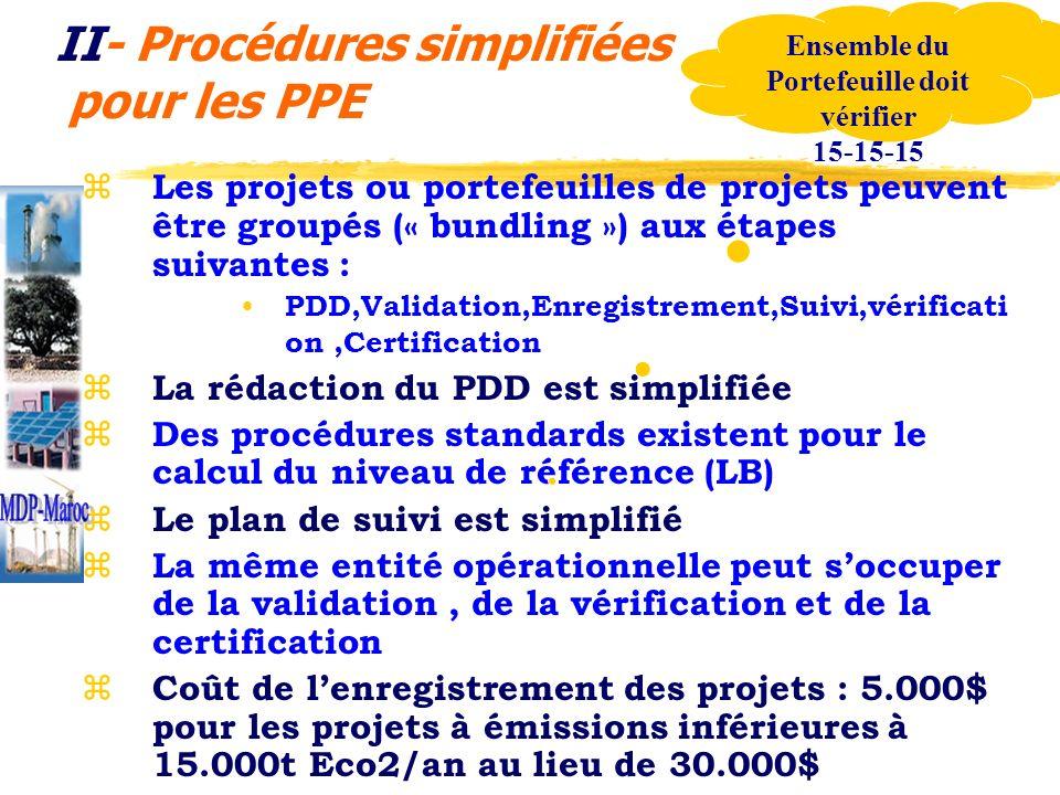 II- Procédures simplifiées pour les PPE z Les projets ou portefeuilles de projets peuvent être groupés (« bundling ») aux étapes suivantes : PDD,Valid