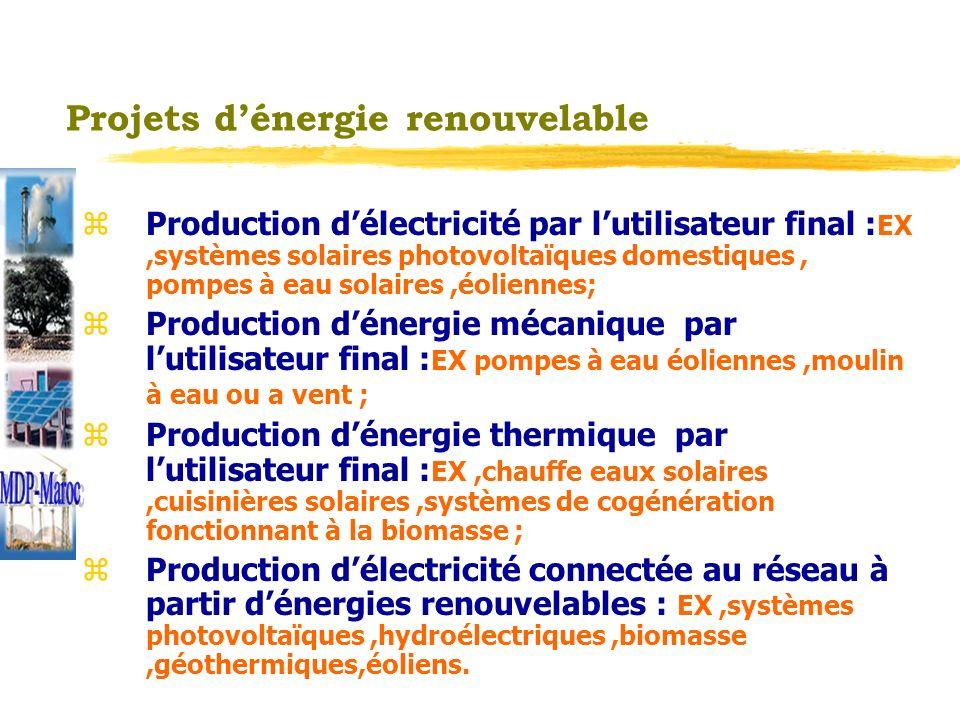 Projets defficacité énergétique z Efficacité énergétique lors de la transmission et de la distribution : EX,amélioration du réseau de transmission; z Efficacité énergétique lors de la production: EX amélioration du rendement des centrales de production délectricité ; z Efficacité énergétique lors de lutilisation finale : EX,utilisation des lampes de basse consommation ; z Efficacité énergétique et substitution de combustible dans lindustrie z Efficacité énergétique et substitution de combustible dans le bâtiment