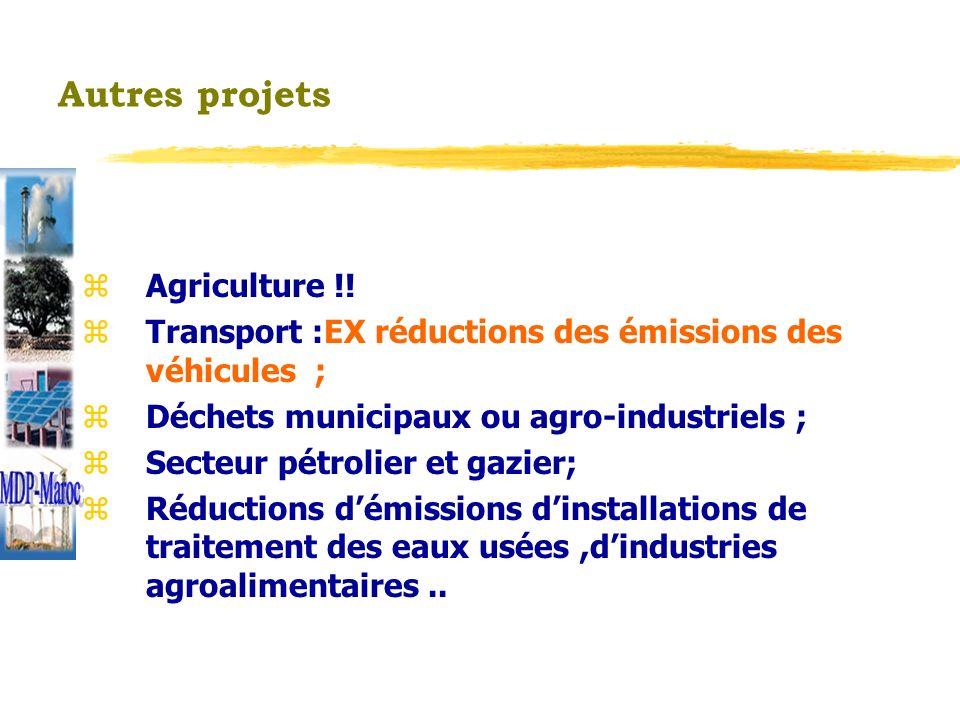 Autres projets z Agriculture !! z Transport :EX réductions des émissions des véhicules ; z Déchets municipaux ou agro-industriels ; z Secteur pétrolie