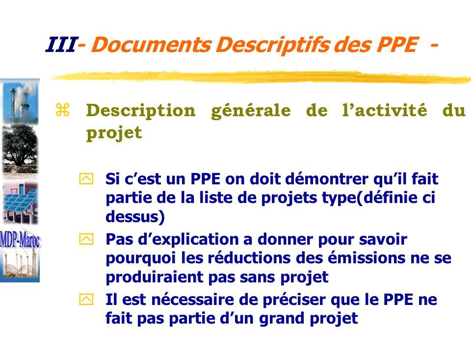 z Méthodologie utilisée pour fixer le niveau de référence y Des méthodologies standardisées peuvent être utilisées pour la LB y Pour certaines catégories de projets le choix de la méthodologie est prédéfini : a consulter sur http://cdm.unfcc.int/pac/howto/SmallScalePA/ssclist meth.pdf http://cdm.unfcc.int/Reference/Documents/SSC_PD D/French/SSCPDD_fr.pdf http://cdm.unfcc.int/pac/howto/SmallScalePA/ssclist meth.pdf II Documents Descriptifs des PPE -2