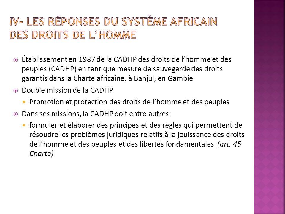 Établissement en 1987 de la CADHP des droits de lhomme et des peuples (CADHP) en tant que mesure de sauvegarde des droits garantis dans la Charte afri