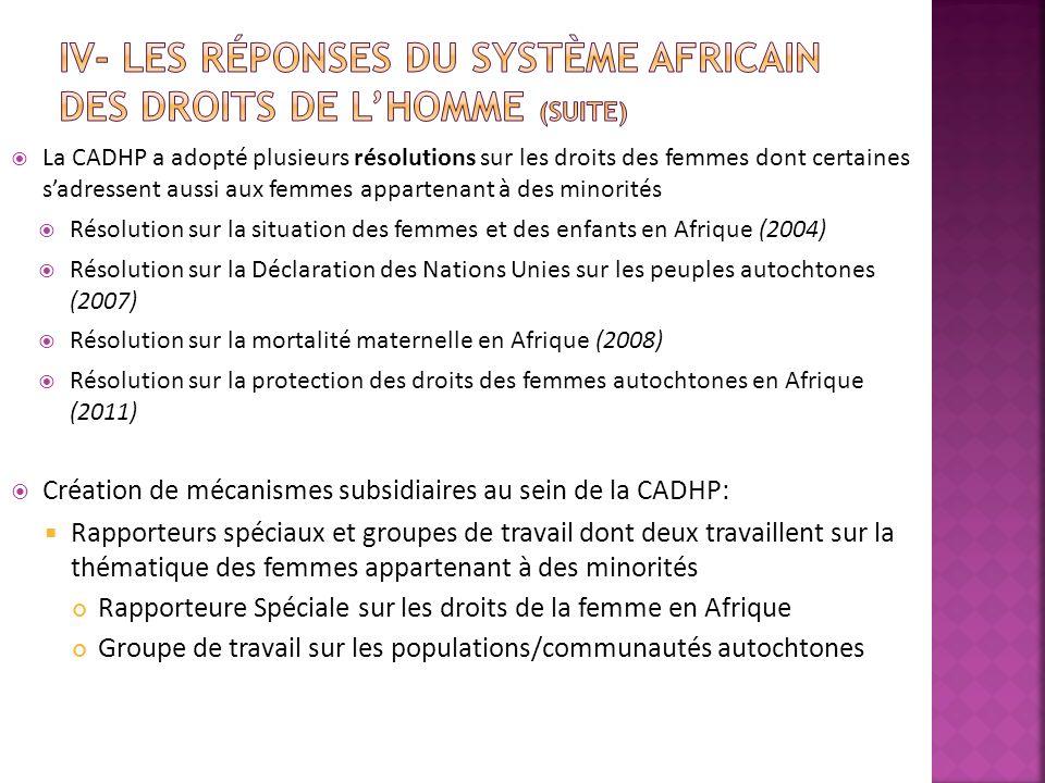 La CADHP a adopté plusieurs résolutions sur les droits des femmes dont certaines sadressent aussi aux femmes appartenant à des minorités Résolution su