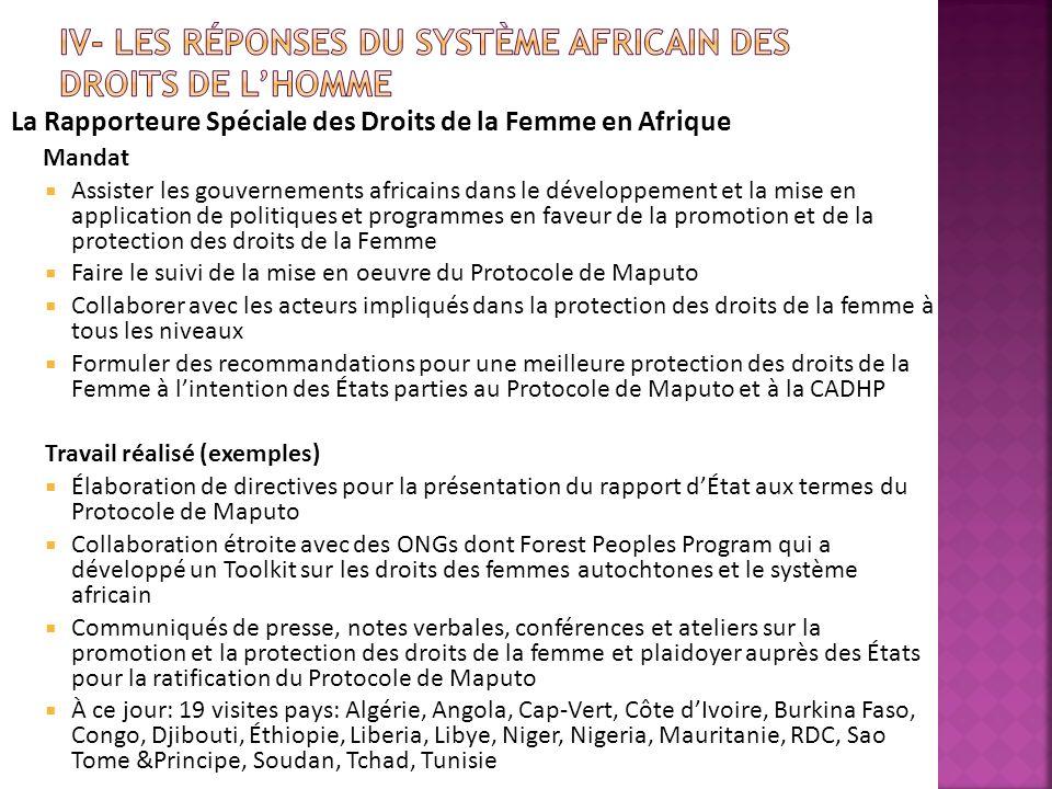La Rapporteure Spéciale des Droits de la Femme en Afrique Mandat Assister les gouvernements africains dans le développement et la mise en application