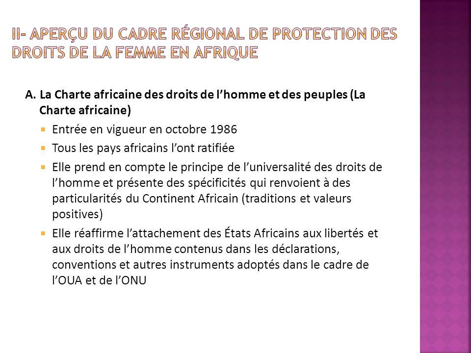 A. La Charte africaine des droits de lhomme et des peuples (La Charte africaine) Entrée en vigueur en octobre 1986 Tous les pays africains lont ratifi