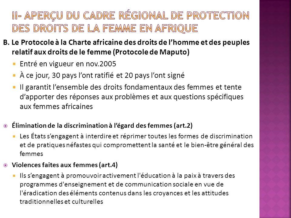 B. Le Protocole à la Charte africaine des droits de lhomme et des peuples relatif aux droits de le femme (Protocole de Maputo) Entré en vigueur en nov