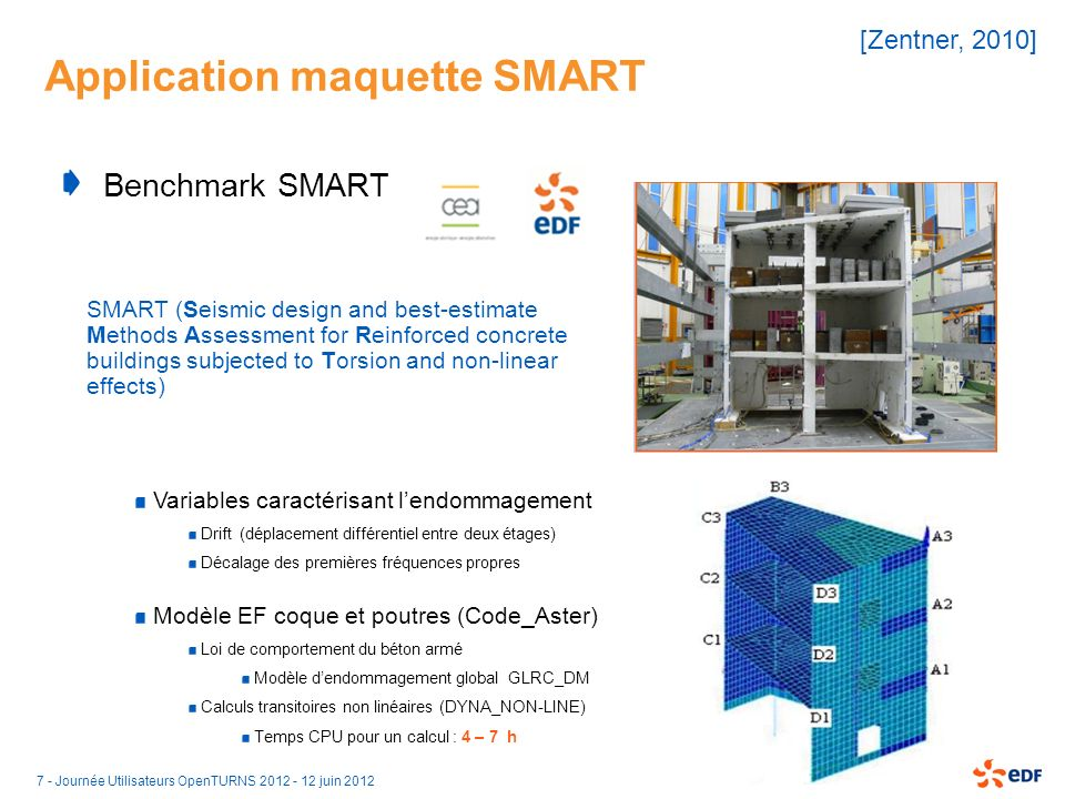 7 - Journée Utilisateurs OpenTURNS 2012 - 12 juin 2012 Application maquette SMART Benchmark SMART SMART (Seismic design and best-estimate Methods Asse