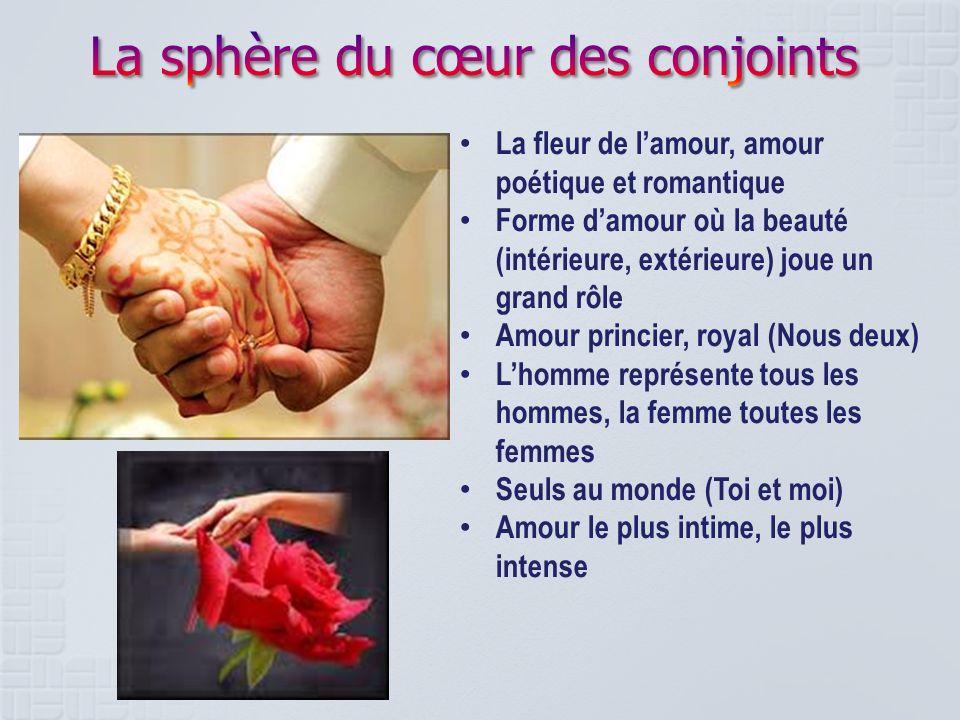 La fleur de lamour, amour poétique et romantique Forme damour où la beauté (intérieure, extérieure) joue un grand rôle Amour princier, royal (Nous deu