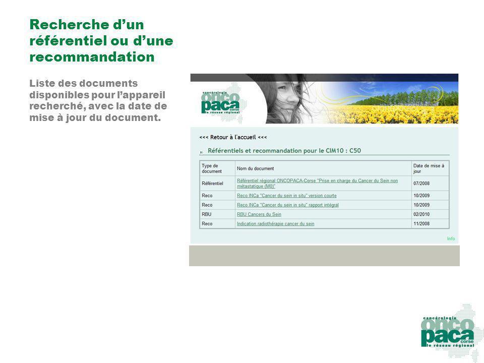 Recherche dun référentiel ou dune recommandation Liste des documents disponibles pour lappareil recherché, avec la date de mise à jour du document.