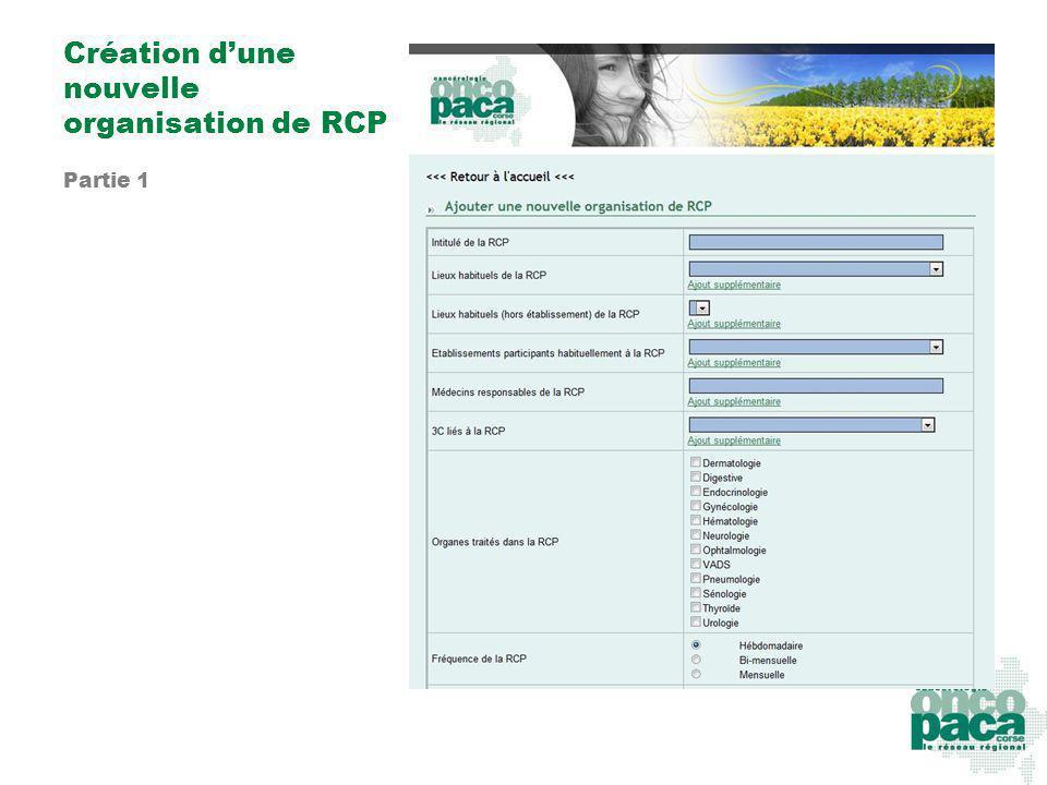 Création dune nouvelle organisation de RCP Partie 1