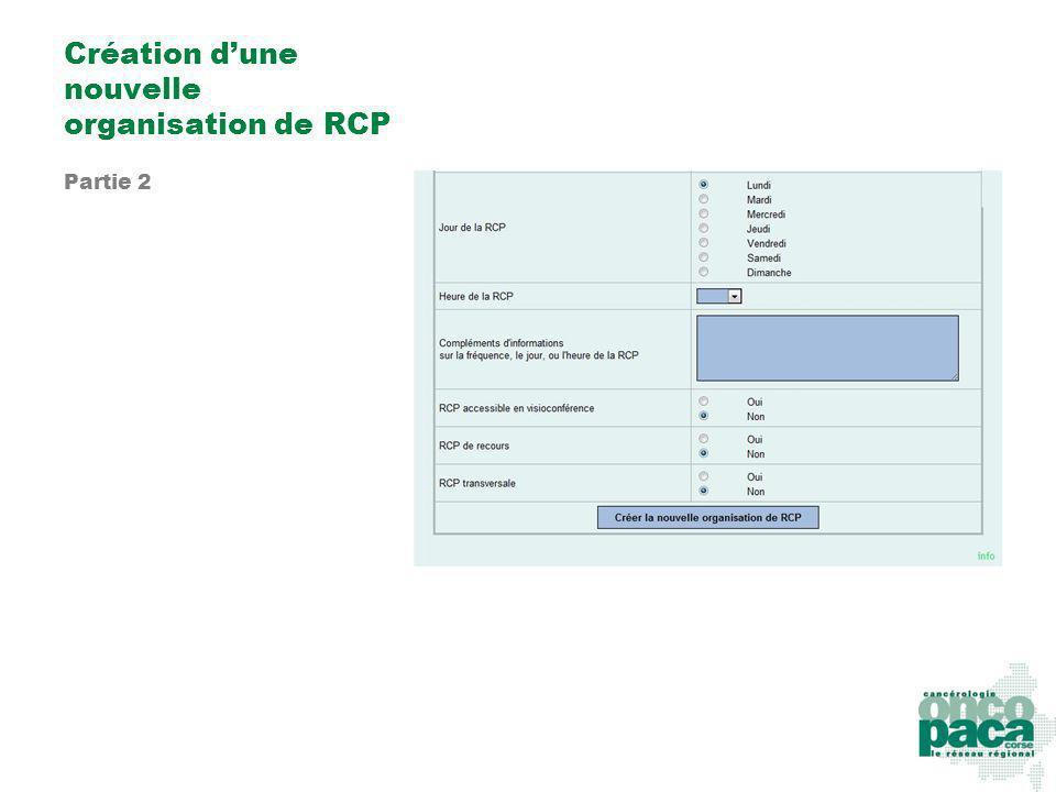 Création dune nouvelle organisation de RCP Partie 2