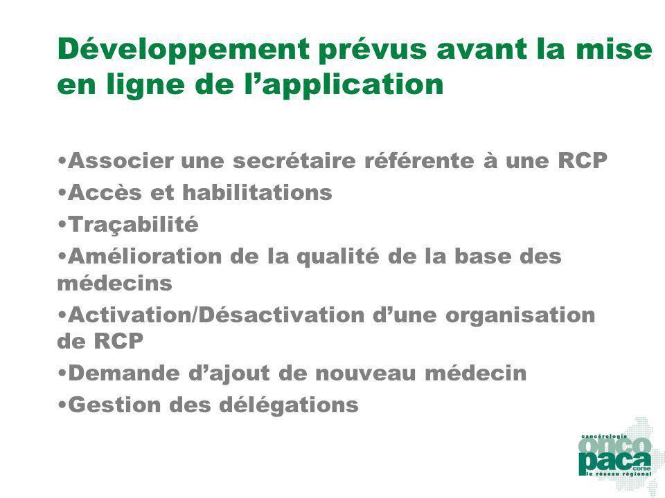 Développement prévus avant la mise en ligne de lapplication Associer une secrétaire référente à une RCP Accès et habilitations Traçabilité Amélioratio