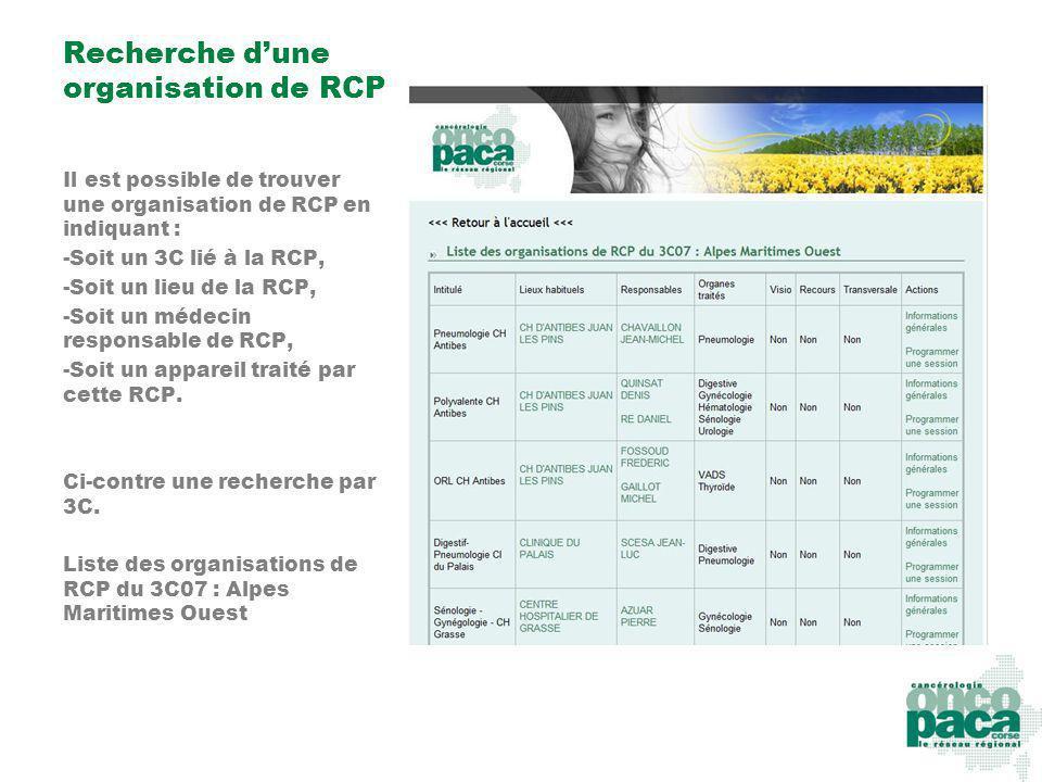 Recherche dune organisation de RCP Il est possible de trouver une organisation de RCP en indiquant : -Soit un 3C lié à la RCP, -Soit un lieu de la RCP